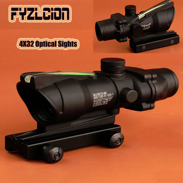 Hunting red dot Riflescope ACOG 4X32 Real Fiber Optics Red Green Illuminated Glass Etched Reticle Tactical Optical Sight