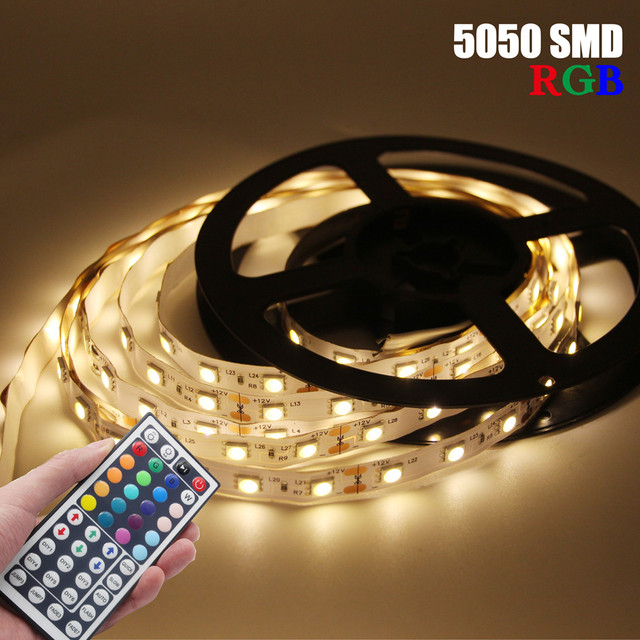DC 12V RGB LED Strip 5050 5M 300LED Not Waterproof Fita LED Light Flexible Neon Tape Add 3A Power and 44Key Remote For Christmas