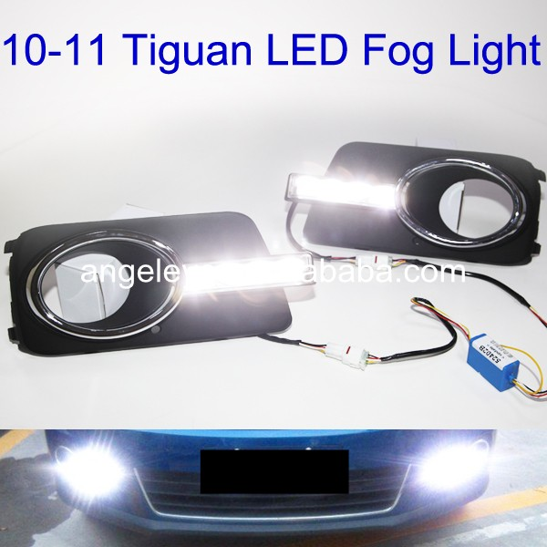 2010-2011 Year for VW tiguan LED Daytime Running Light hot sale abs chromed front behind fog lamp cover 2pcs set car accessories for volkswagen vw tiguan 2010 2011 2012 2013