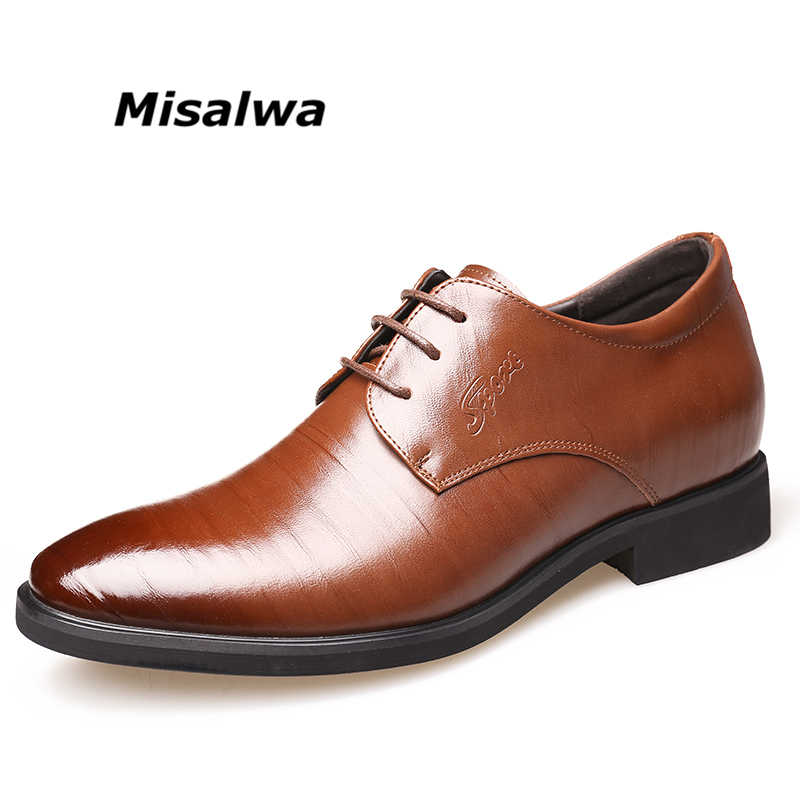 b6a4aa9b4f Misalwa Invisible Height Increasing Elevator Business Shoes Sagacity Men  Formal Dress Shoes 2019 Wedding Shoes