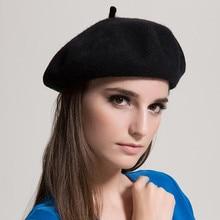 Warm Fleece Beret Hats For Women Winter Wool Knit Ladies Red Beret Flat Caps Adjustable Hip Hop Female Beret Baret Vrouwen
