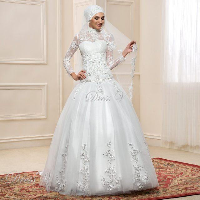 Online-Shop Langarm Muslimischen Rollkragen Hochzeit Kleider ...