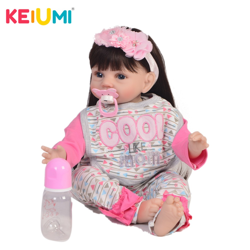 KEIUMI 22 Inch Reborn Alive Doll Soft Silicone Realistic Girl Twins Baby Doll Toy For Toddler Christmas Birthday Gifts Long Hair