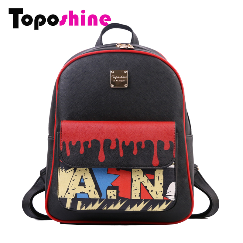 Toposhine Women Backpack Panelled PU Leather Backpacks Korean School Girls Bag Ladies Bags Fashion Zipper Female