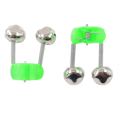 OUTKIT 5pcs/lot Fishing Bite Alarms Fishing Rod Bell Rod Clamp Tip Clip Bells Ring Green ABS Fishing Accessory Outdoor Metal Multan