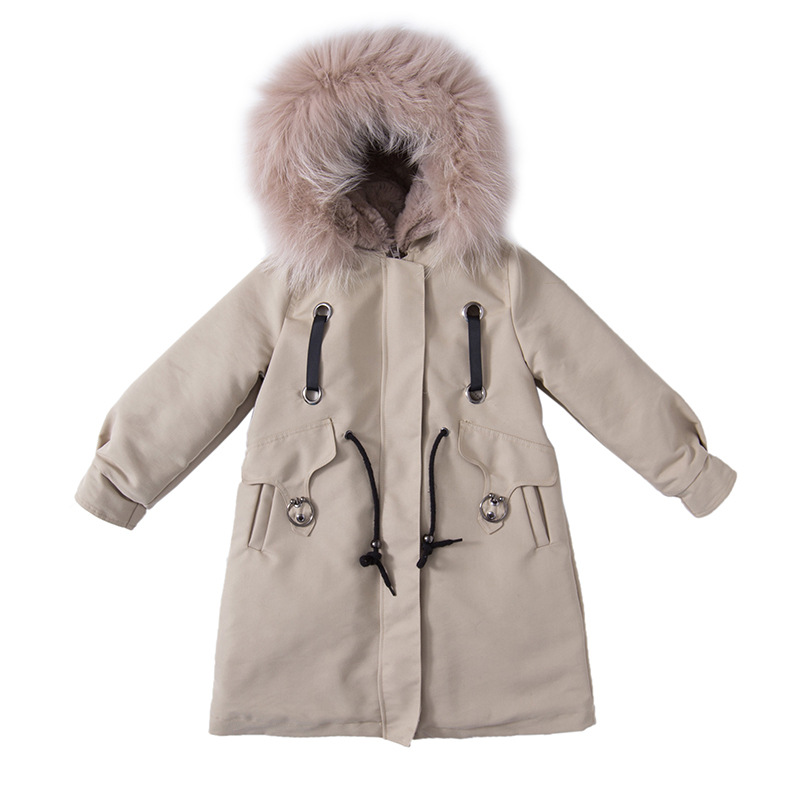 2018 Girls Winter Coat Children Jackets nature fur Parkas Kids Winter Outerwear Coats Thickened Warm Jacket Baby Girls Coat 2018 fashion children s cotton parkas winter outerwear coats thickened warm jackets baby boy and girl faux fur coat