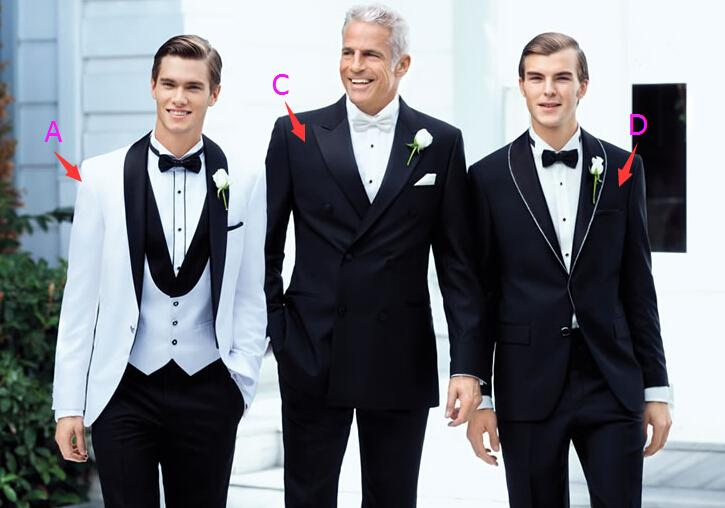 GenerousTop selling White Black Three Pieces Groom Tuxedos ...