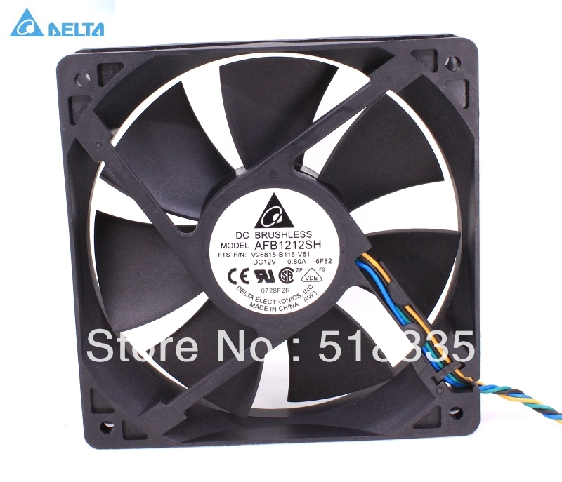 Free shipping Delta fan AFB1212SH 12CM 120MM 1225 12025 12*12*2.5CM 120*120*25MM 12V 0.80A Cooling Fan Good Quality original delta afb1212hhe r00 dc12v 0 70a 3wires 120 120 38mm 12cm alarm signal cooling fan