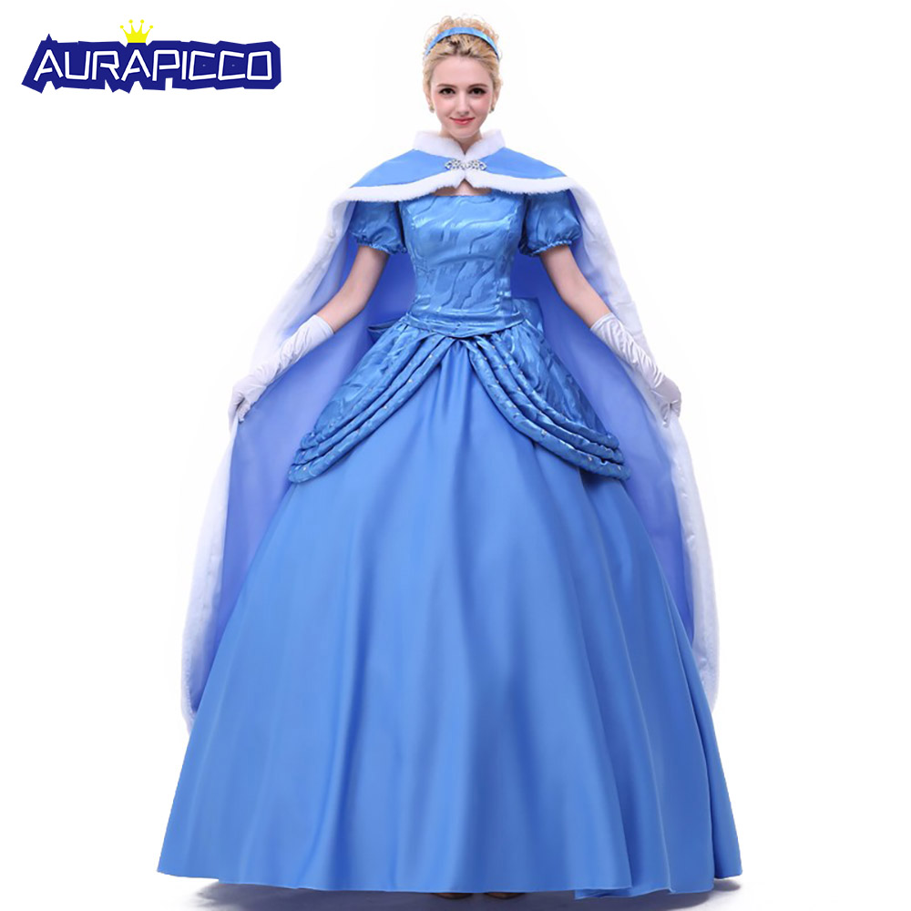 Adult Deluxe Princess Cinderella Costume Fairytale Elegant Blue Princess Dress Classic Cinderella Full Length Gown With Cloak