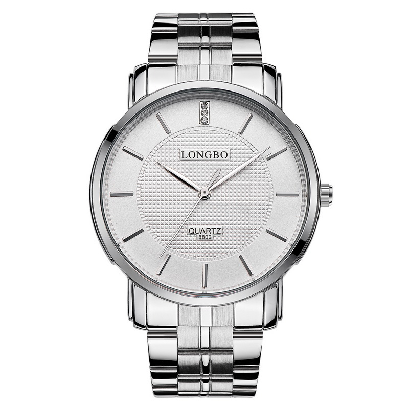 2018 Fashion Longbo Men Women's Simple Casual Style Full Stainless Steel Watchband Round Dial Waterproof Couples Wristwatch 8802