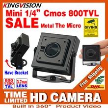 New Micro Cone 3.7mm lens HD 1/4CMOS 1200TVL Small Color Analog Video CCTV Security Mini Camera Surveillance Metal have Bracket