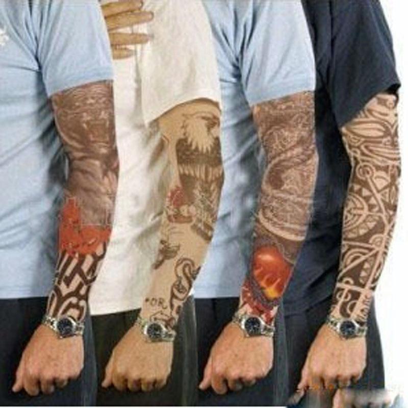 Fashion Style Men Arm Warmer Stockings Elastic Tattoo Sleeves Nylon Temporary Tattoo Sleeves Sport Skins Sun Protective Seamless Fake Tattoo 50% OFF Men's Arm Warmers