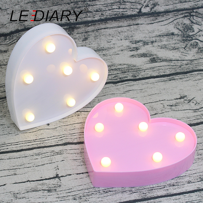 LEDIARY Novelty Heart Decoration Night Light Red Pink White South Korea Style LED Lamp For Dressing Table Thanksgiving Bedrrom стулья для салона led by heart 2015
