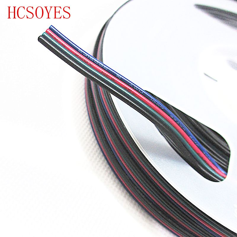 100M 4 Pin Extension wire led connector RGB + Black/white led Cable ...
