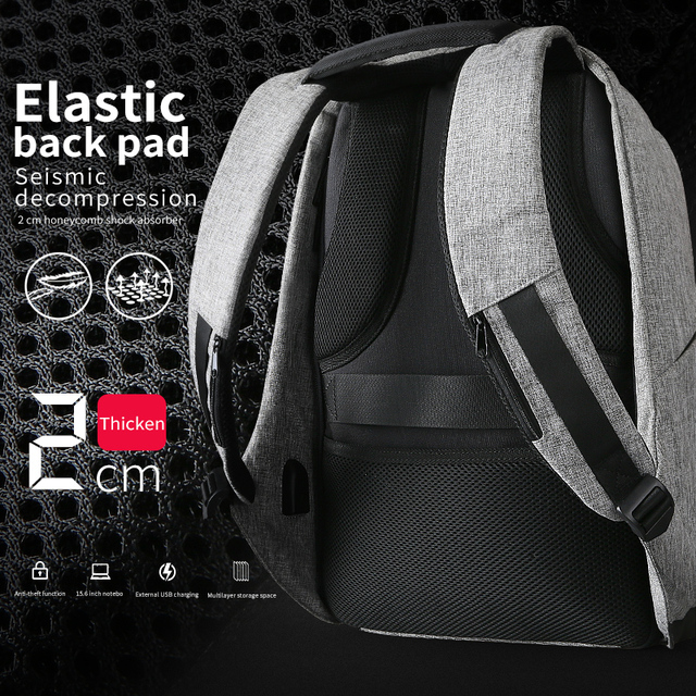 Multifunction USB charging Men 15inch Laptop Backpacks For Teenager Fashion Male Mochila Leisure Travel backpack anti thief 4