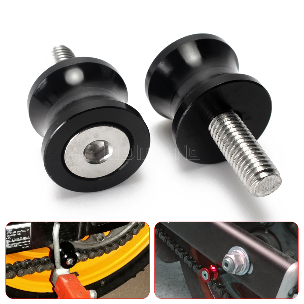 M6 CNC Aluminum Stand Screws Motorcycle Swingarm Spools Sliders For Yamaha Tmax 500 T-max 530 MT-03 MT 07 R1 Ducati monster 821 2pcs universal motorcycle stand screws cnc swingarm swing sliders spools m6 m8 m10 for yamaha r3 honda crf 450 suzuki gn250