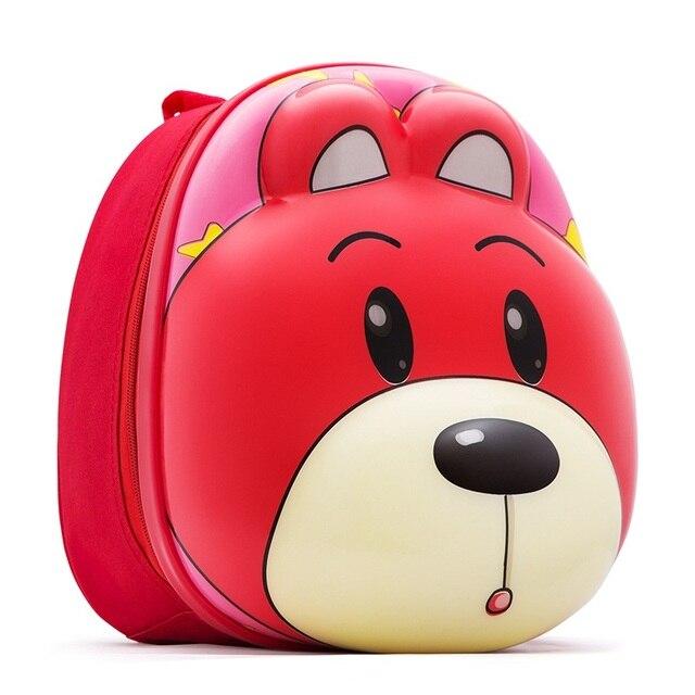 3D Lovely Bear Rabbit Head Animal Backpack Children Silicon Schoolbag Kids Zoo Pack 11 Inch Preschool Cartoon Bag 3-8 Years Old
