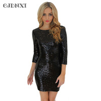 2XL Vestidos Dress Women Sequin Dresses Bodycon Sexy Party Nightclub Dress Flare Vestido Curto Pencil Glitter