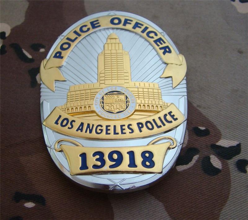 United States LA Los Angeles Badges Copper LAPD No.13918 Shirt Lapel Badge Brooch Pin Badge 1:1 Gift Cosplay