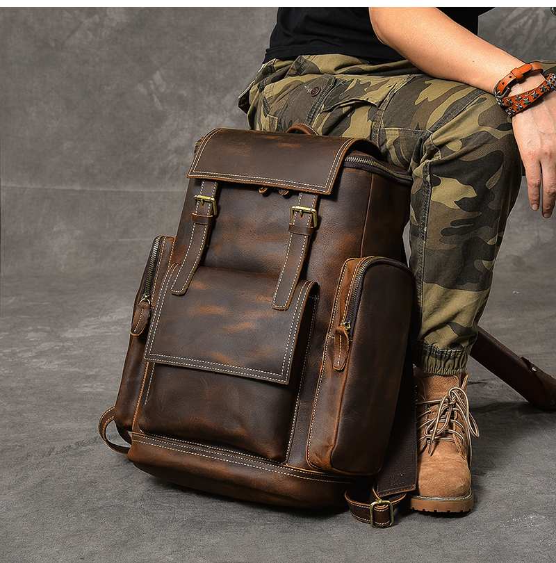 hore luxury vintage leather backpack