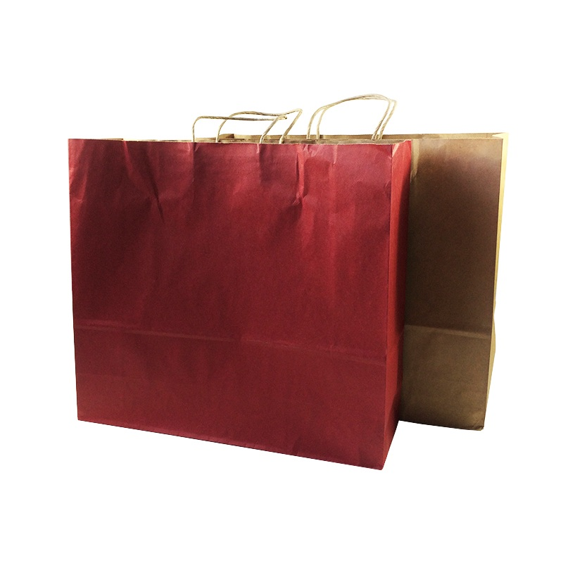 10pcs/lot Multifuntion Solid Color Kraft Paper Bags With Handle 44*40*14cm Gift Wedding Birthday Party Holiday Package Bag