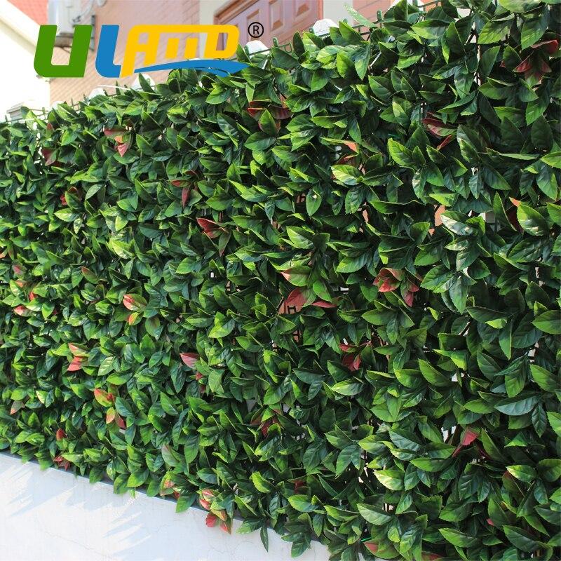 울란바 인공 회양목 패널 6pcs 50x50cm 인공 식물 매트 가든 발코니에 대 한 장식 회양목 울타리 플라스틱 울타리