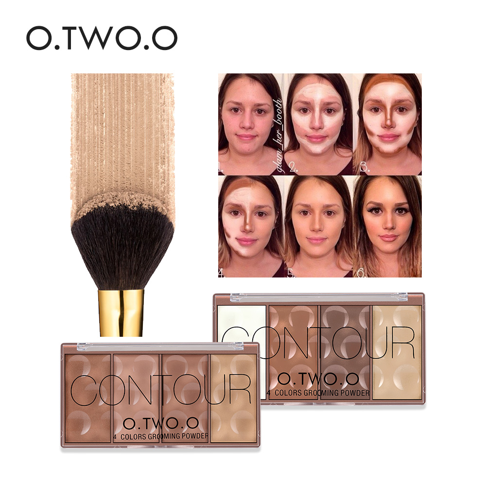O.TWO.O 4 Colors Face Make Up Vattentät Grooming Pulver Med Pressad Powder Contour Bronzer Blush Blusher Highlighter Shading