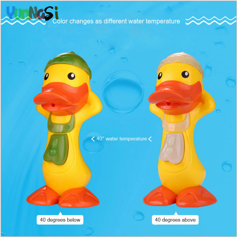YunNasi Yellow Duck Toy Bath Change Color Spray Water Baby Kids Toys Bathroom Swimming Pool Beach Toys For Children Water Gun