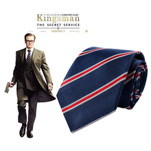 145*7.5cm Movie Kingsman Tie The Golden Circle Harry Hart Eggsy Neck Tie Cosplay Costume Striped Necktie Wedding Party Men Gift