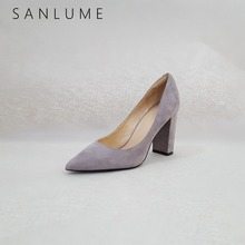 купить SANLUME Autumn Suede Chunky Pumps Women Sexy Office Shoes Woman High Heels Career Genuine leather Block Heel Slip On Pointed Toe по цене 2569.89 рублей