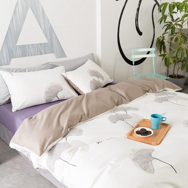 kaki ginkgo feuille housse de couette double reine roi taille ensembles de literie 100 coton. Black Bedroom Furniture Sets. Home Design Ideas