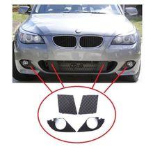 For BMW 5 E60 E61 2003-2010 M SPORT FRONT BUMPER LOWER GRILLS + FOG LIGHT COVERS E60 bumper grille fog lamp cover