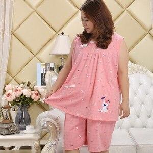 Image 4 - Plus größe 100% baumwolle kurze pyjamas sätze frauen sleeveless XXXXXL 130KG sommer pijama nachtwäsche nette cartoon rosa frauen pyjamas