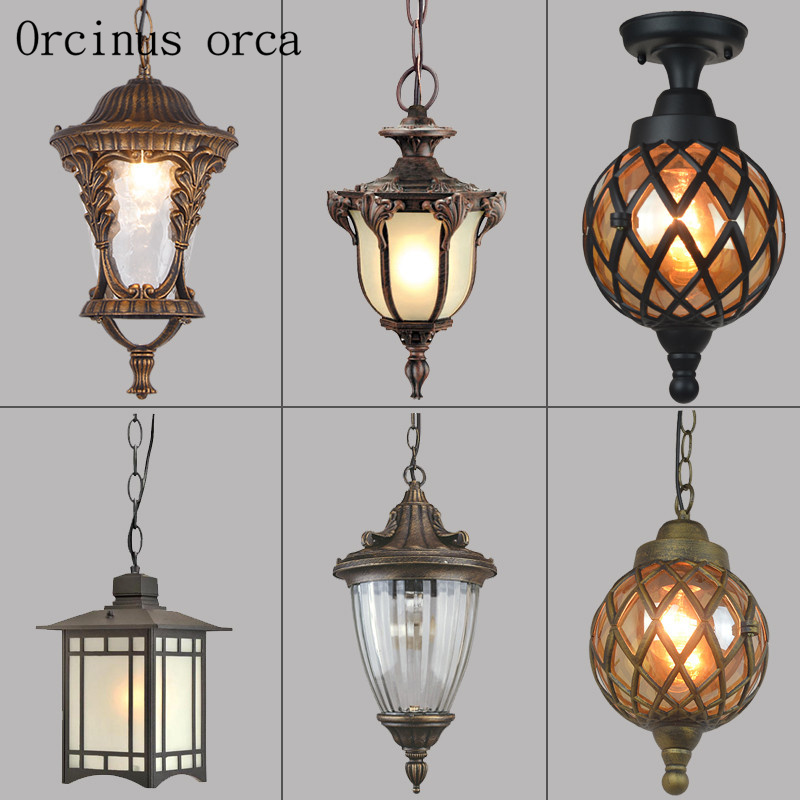 European style antique outdoor waterproof chandelier balcony Gallery garden decoration restaurant American Rural Iron Chandelier 8 inches tiffany american jane european chandelier balcony windows and a small table lamps art rose garden lighting