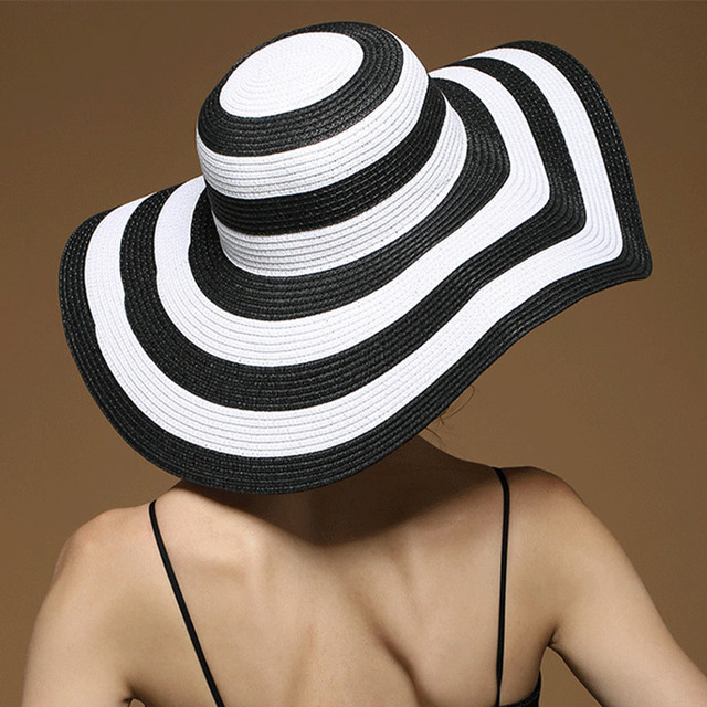 fashion Seaside Black and white circle sun hat female summer sun hats for women  large brimmed d3c756a06689