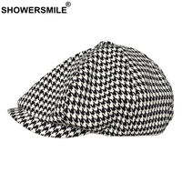 SHOWERSMILE Newsboy Caps Women Cotton Houndstooth Painter Hat Men White Black Beret Vintage British Spring Summer Octagonal Cap