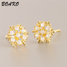 BOAKO Crystal Flower Stud Earrings Beautiful Snowflake Piercing Woemn 925 Sterling Silver Fashion Jewrly