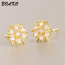 BOAKO Crystal Flower Stud Earrings Beautiful Snowflake Piercing Woemn 925 Sterling Silver Fashion Jewrly