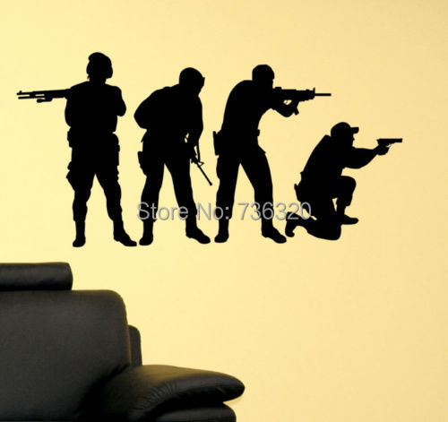 Military SWAT Team Army Men Soldier Kid Room Decor Vinyl Wall Decal ...