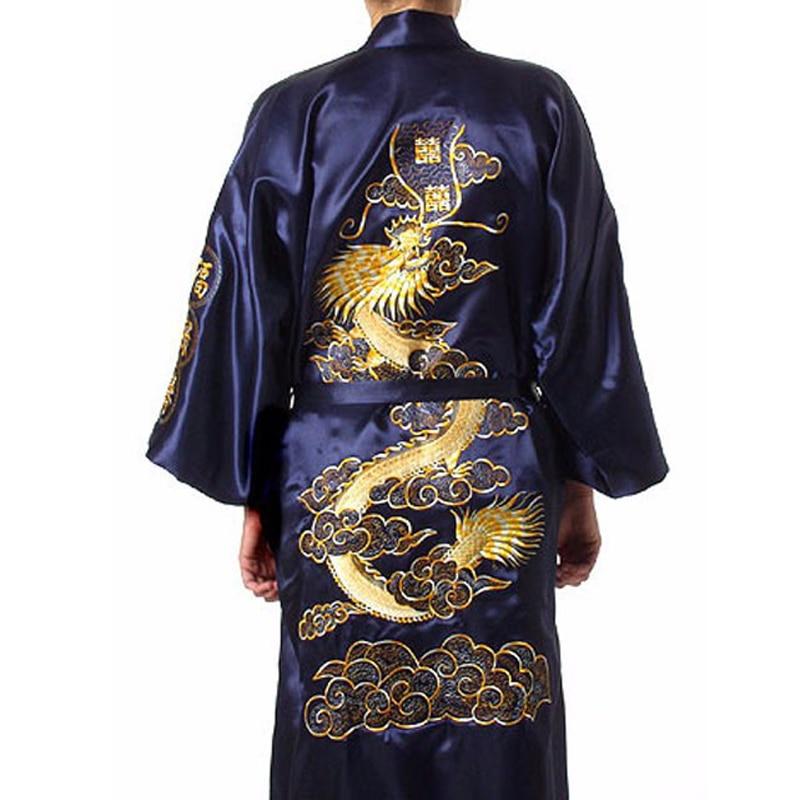Black Chinese Men\'s Traditional Embroidery Satin Robe Dragon Kimono ...