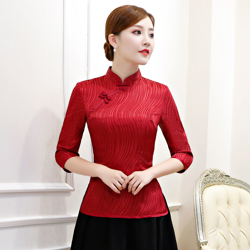 Fashion Womens Shirt Tops Traditional Chinese Style Rayon Blouse Lady Summer Cheongsam Mandarin Collar Qipao Mujer Camisa S 3XL