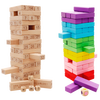 54PCS Wooden Tower Wood Building Blocks Toy Domino Stacker Extract Building Educational Jenga Game Gift