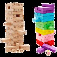 54 PZ Torre di Legno di Legno Giocattolo Blocchi Domino Edificio Scolastico Estratto Stacker Jenga Gioco Regalo