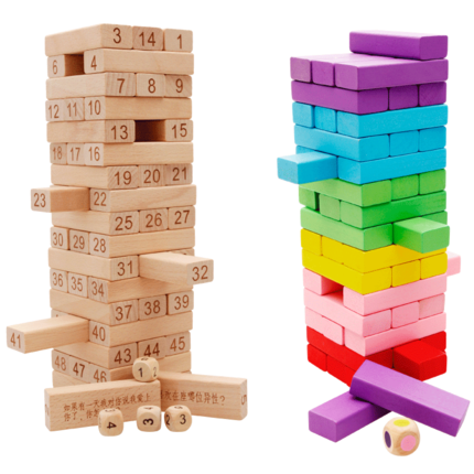 54PCS Wooden Tower Wood Building Blocks Toy Domino Stacker Extract Building Educational Jenga Game Gift baby toys moon balancing game educational building blocks wooden toy geometric blocks child birthday gift