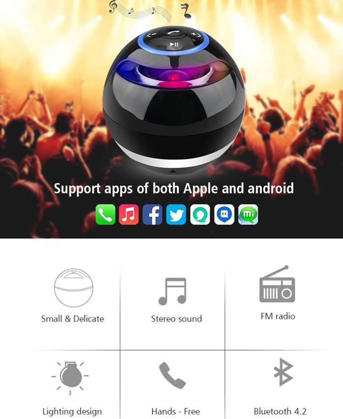 Image 5 - Nasin Round Wireless Bluetooth Speaker Portable Subwoofer w Mic Support TF Card USB MP3 FM AUX Hands free Calling For Smartphonebluetooth speakerbluetooth speaker portablewireless bluetooth speaker portable -