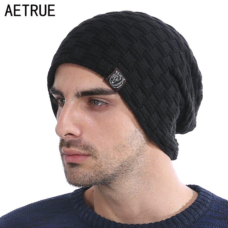 New Winter Hat Men Knitted Beanies Warm Bonnet Caps Baggy Brand Solid Thicken Fur Winter Hats For Men Women Wool Skullies Beanie