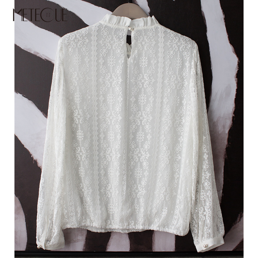 Cross Stitch Hollow Out Ruffles Stand Collar White Blouse Pearl Button Women Shirts Womens Tops And Blouses Spring Summer 2018-in Blouses & Shirts from Women's Clothing    3