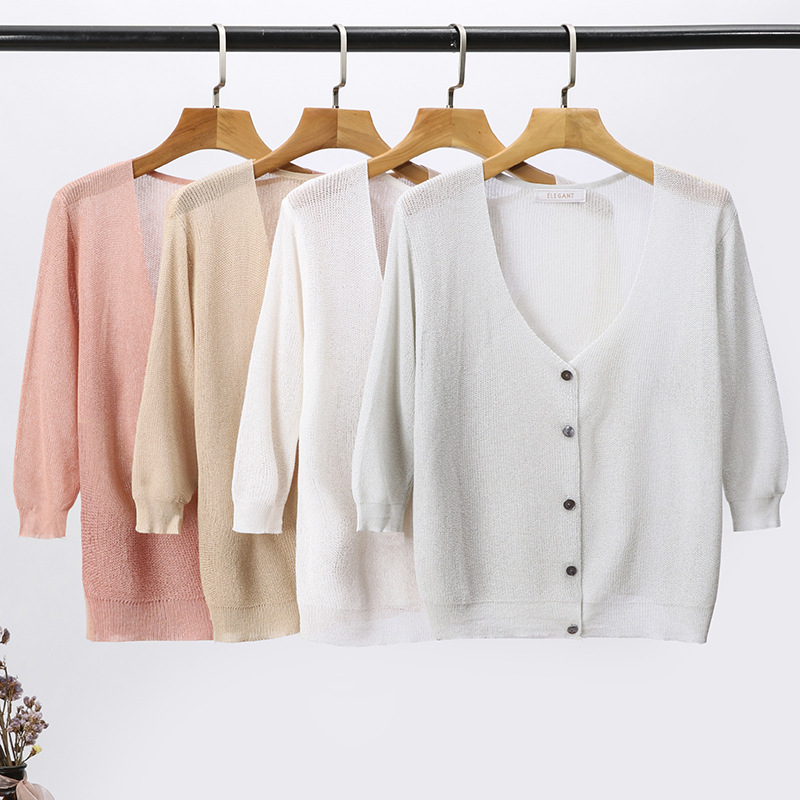 Summer Cardigan Women Thin Sweaters Outside Knitted Top Pink/white/gray 2019 New V-Neck One Size Oversized Sweater Hollow
