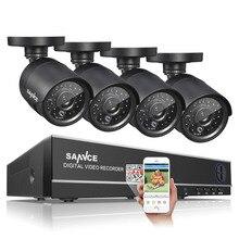 SANNCE AHD 4CH CCTV Système 720 P HDMI DVR Kit 1200TVL Extérieure de Sécurité Étanche Nuit Vision 4 Caméras de Surveillance Kits