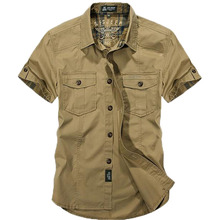 AFS JEEP, Мужская брендовая хлопковая рубашка, высокое качество, лето, модные Свободные повседневные армейские рубашки с коротким рукавом 66